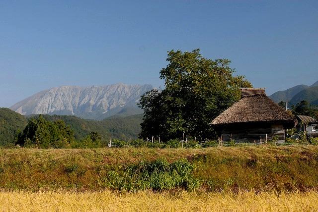 わら葺小屋と大山