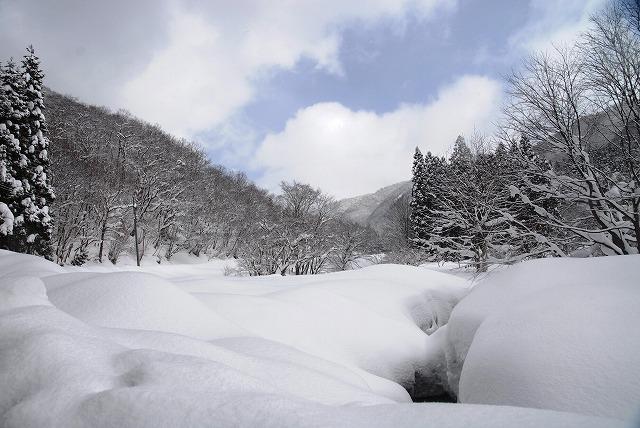 岩井滝付近の雪景色1