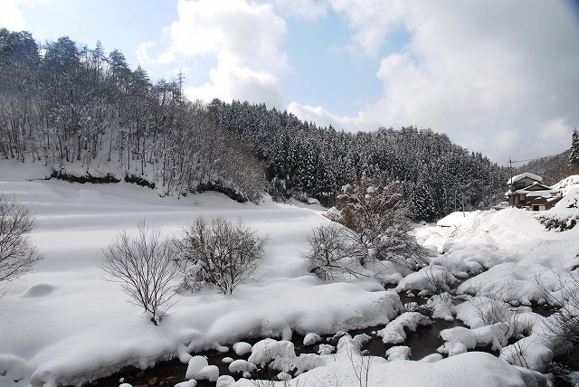 岩井滝付近の雪景色13