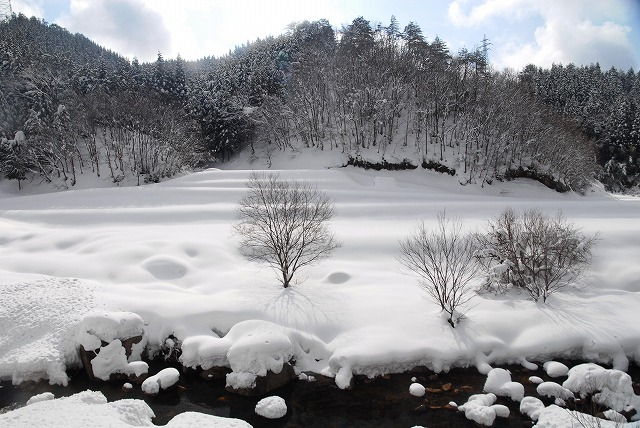 岩井滝付近の雪景色14