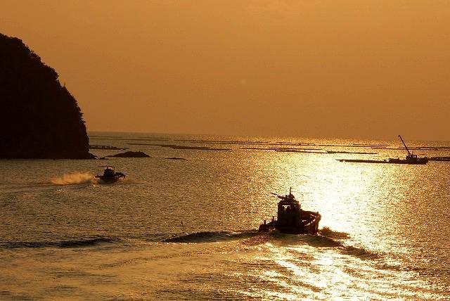 競って出漁する牡蠣船