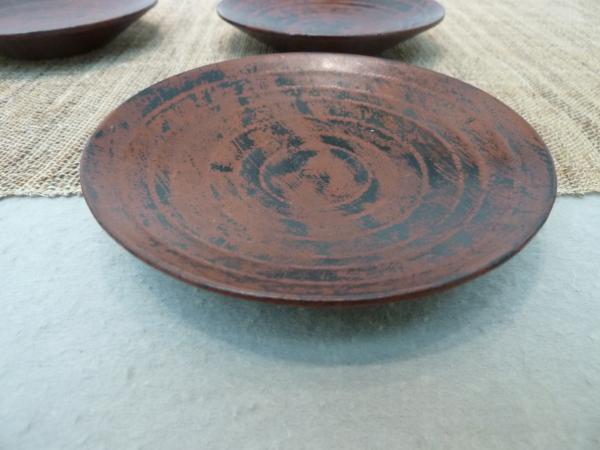 蒔地弁柄塗り四寸皿4
