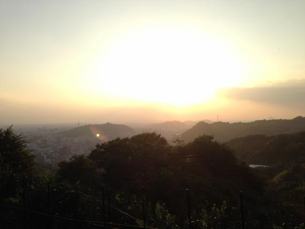 松山城と夕日7