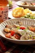綿実油で白身魚とあさりの白ワイン煮
