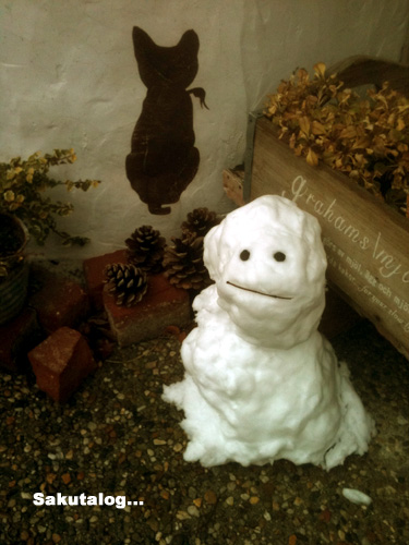 さのすけの花壇と雪だるま