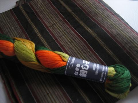 古い着物地と刺し子の糸