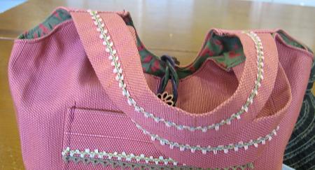 帯から作ったバッグ・・持ち手