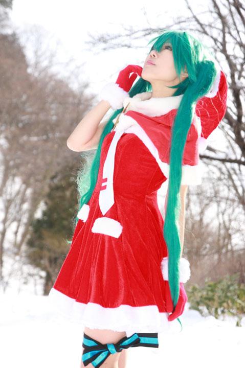Vocaloid/初音ミク/DIVA/クリスマスモジュール/雪ロケコスプレ写真
