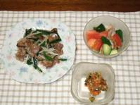 9/13 夕食 肉野菜炒め、ホタテサラダ、冷奴
