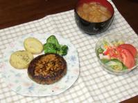 11/24 夕食 豆腐ひじきハンバーグ、水菜サラダ、白菜と油揚げの味噌汁