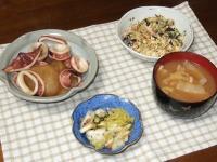12/20 夕食 イカ大根、炒り豆腐、白菜と桜えびの柚子胡椒和え、白菜の味噌汁