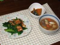 12/28 夕食 小松菜と厚揚げの桜えび炒め、かぼちゃの煮物、豚汁、ご飯