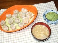 1/29 夕食 蟹シュウマイ、筍シュウマイ、アボカド納豆、白菜のかき玉汁
