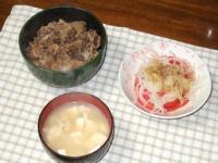 2/5 夕食 なか卯の牛丼(レトルト)、トマトと玉ねぎのサラダ、豆腐と油揚げの味噌汁