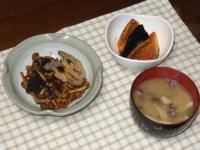 2/8 夕食 れんこんハンバーグなめこもずくソース、かぼちゃの煮つけ、しめじといんげんの味噌汁