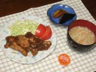2/10 夕食 鶏手羽元のゆずマーマレード煮、かぼちゃの煮物、えのきとがんもの味噌汁、わさび漬け