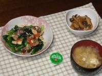 2/11 夕食 小松菜とあさりの豆腐炒め、山芋としめじの甘辛煮、わさび漬け、タマネギと玉子の味噌汁