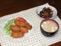 2/13 夕食 カキフライ、厚揚げとひじきの煮物、豆腐とえのきの味噌汁