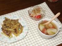 2/14 夕食 豚肉とじゃがいものカレー炒め、かぶとベーコンのスープ、トマトと玉ねぎのサラダ