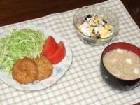 2/15 夕食 レンジとんかつ、ほうれん草と玉子のサラダ、豆腐とえのきの味噌汁