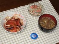 2/17 夕食 イカとトマトのにんにく炒め、ゴボウのサラダ、豆腐となめこの味噌汁、わさび漬け
