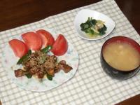 2/23 夕食 豚肉とスナップえんどうのオイマヨ炒め、あさりと浅葱のぬた、豆腐とえのきの味噌汁