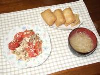 3/7 いなりずし、豚とトマトと豆腐のにんにく炒め、もやしの味噌汁