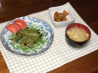 3/8 夕食 イワシのソテーバジルソース、さつまいもの甘煮、玉ねぎと玉子の味噌汁