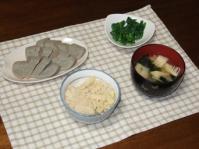 4/21 夕食 黒はんぺん、小松菜のわさびマヨネーズ和え、若竹味噌汁、筍ご飯
