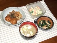 4/24 夕食 筍と舞茸ひろうすの煮物、あさりと分葱のぬた、エビと玉子のサラダ、豚汁