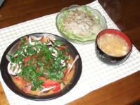 6/14 イカとトマトのにんにく炒め、ホタテのカルパッチョ風、豆腐とエノキの味噌汁