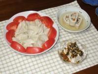 6/20 夕食 冷水餃子、野菜の湯葉巻、冷奴