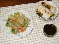 7/18 キャベツとモツの塩炒め、レンジ蒸しサラダ、もずく酢