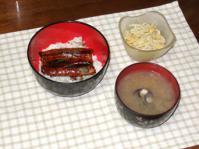 7/27 夕食 鰻丼、もやしとコーンのカレーマヨ和え、しじみの味噌汁