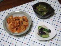 9/3 夕食 豚肉とキムチの玉子炒め、オクラの煮びたし、ナスときゅうりの塩麹漬