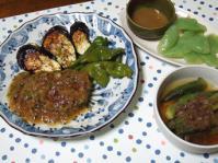 9/4 夕食 豆腐ひじきハンバーグ、オクラの煮びたし、刺身こんにゃく