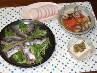 9/12 夕食 スモークさんま、アサリとトマトの酒蒸し、かまぼこ、冷奴