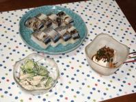 9/18 夕食 炙りサンマ寿司、ささみときゅうりのサラダ、冷奴