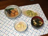 9/23 夕食 ひろうすととりごぼう団子の煮物、イカの磯辺揚げ、とうふとわかめの味噌汁、ご飯