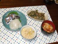 9/24 夕食 刺身、もずくヒラヤチー(チヂミ風)、トマトかき玉汁、栗おこわ