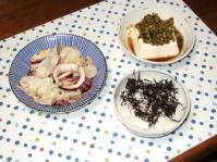 9/27 夕食 イカとキャベツのレンジ蒸し(醤油麹)、温奴