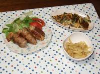 9/30 夕食 えのき巻豚肉のポン酢焼き、ジャガイモの塩麹きんぴら、もずくとニラのチヂミ風