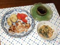 9/15 夕食 塩麹漬豚ロースのソテー、水菜と油揚げの煮びたし、刺身こんにゃく