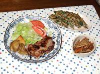 10/6 豚肉塩麹漬ソテー、ニラともずくのチヂミ風、きんぴらごぼう(醤油麹)
