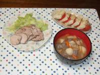 10/10 夕食 ゆで豚、豆腐とトマトのカプレーゼ、豚汁