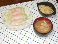 10/12 夕食 海老蒸し春巻き、ジャガイモの塩麹きんぴら、もやしと油揚げの味噌汁