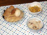 10/15 おでん、もやしとコーンのカレー塩麹炒め、キノコと揚げの混ぜご飯