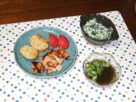 10/22 夕食 塩麹漬鶏のソテー、ほうれん草の白和え、オクラもずく酢