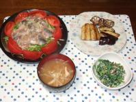 10/26 夕食 鯵の塩麹カルパッチョ、さんまのハーブソテー、ほうれん草の白和え、もやしの味噌汁