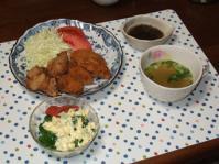 10/27 夕食 牡蠣フライと鶏塩唐揚げ、もずく酢、ブロッコリーのタルタルサラダ、ごぼうスープ